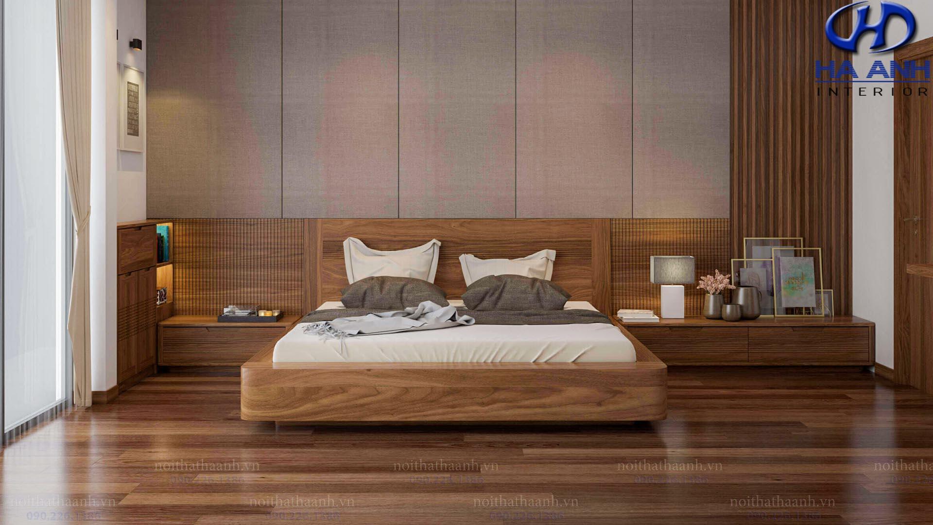 Hướng dẫn bài trí phòng ngủ gỗ óc chó phù hợp với không gian nhà bạn
