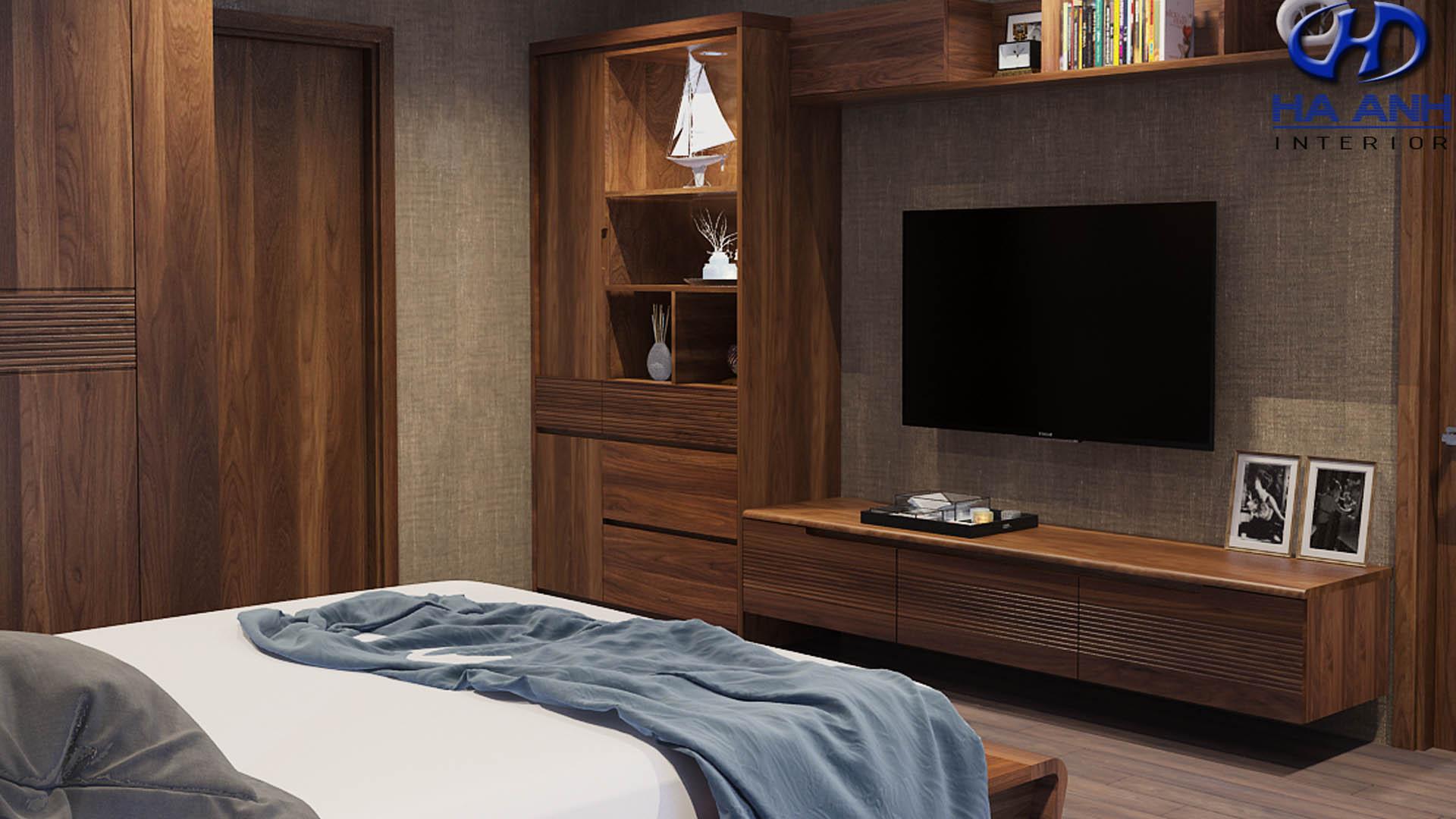 Kệ tivi gỗ óc chó Hà Anh – Điểm nhấn cho không gian nội thất gia đình
