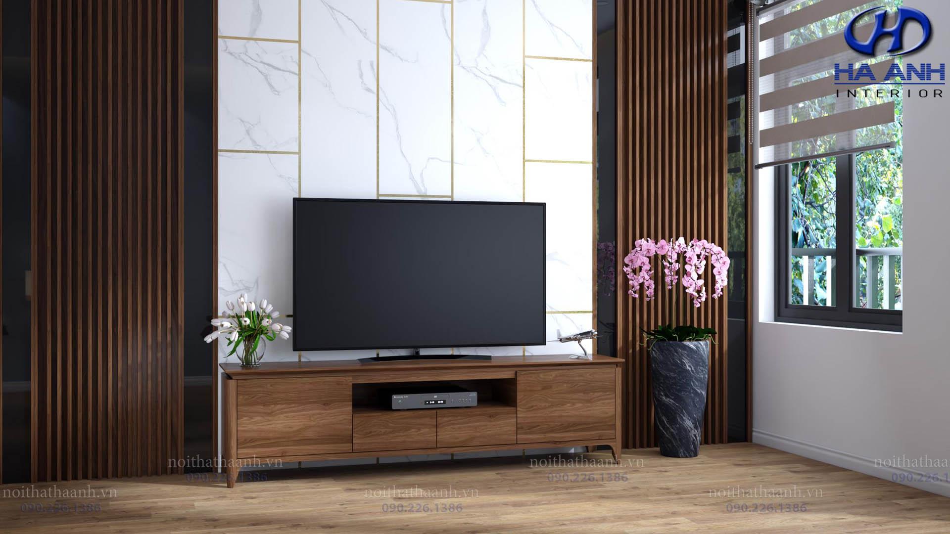 Những mẫu kệ tivi gỗ óc chó của Nội thất Hà Anh làm nao nức lòng khách hàng