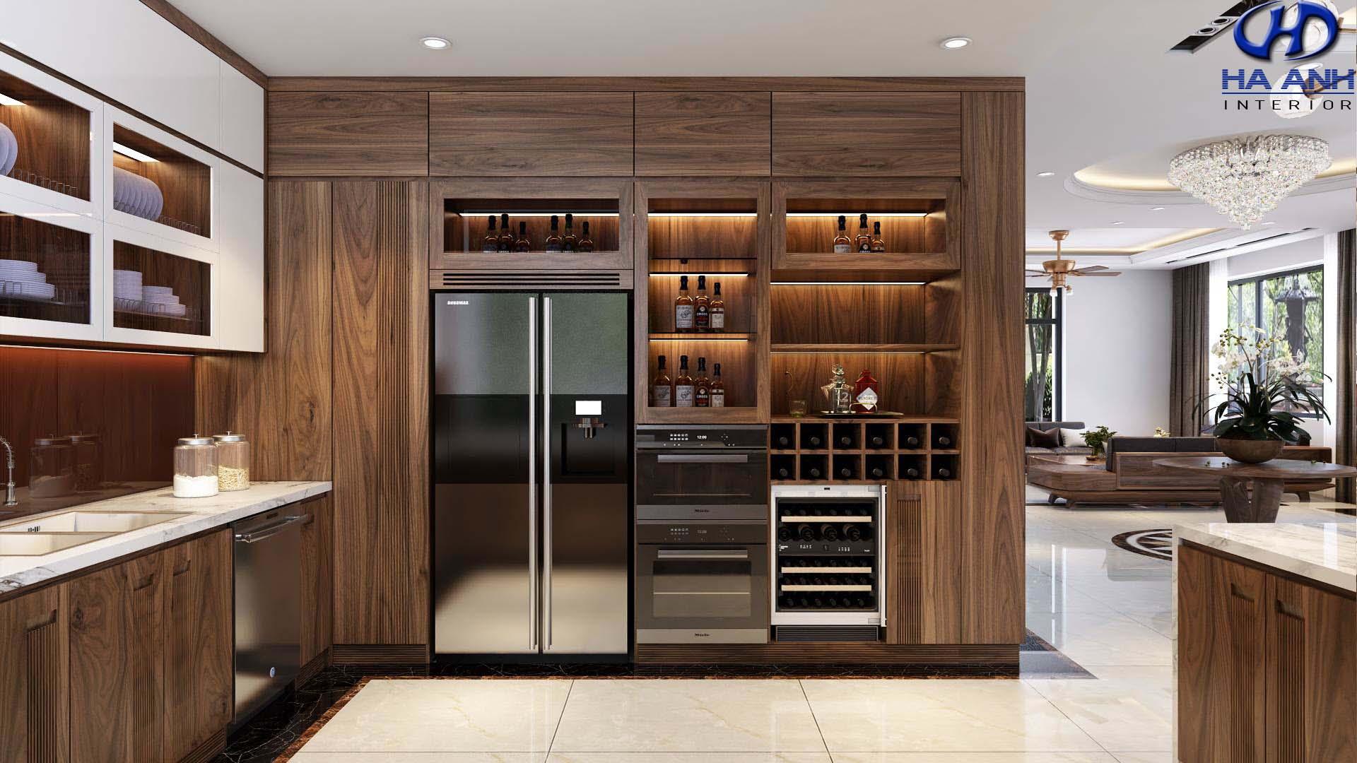 Thiết kế nội thất phòng bếp gỗ óc chó Hà Anh mang phong cách hiện đại