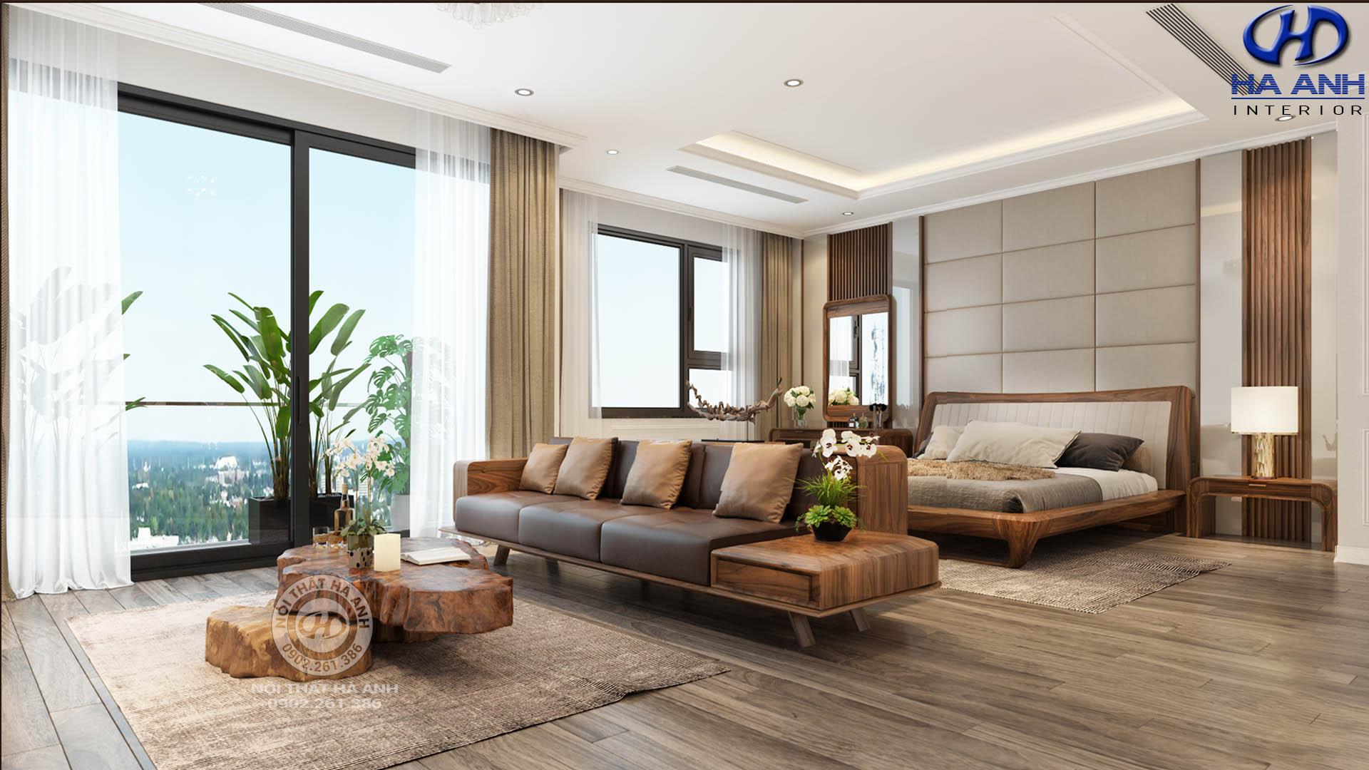 Phong cách thiết kế nội thất hiện đại bằng gỗ óc chó 2019