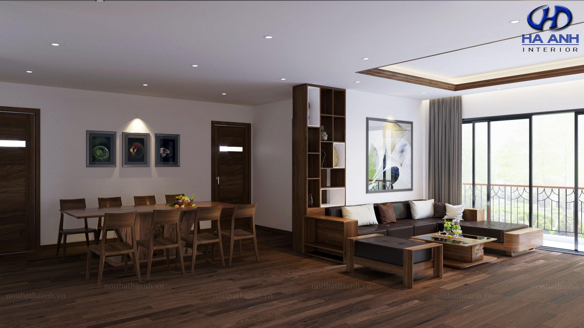 Cách thiết kế nội thất phòng khách bằng gỗ óc chó sang trọng hiện đại