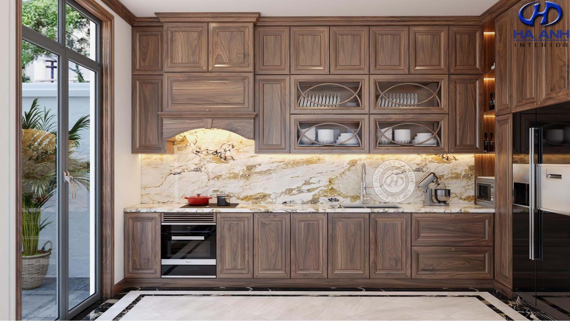 10+ mầu nội thất phòng bếp gỗ óc chó Hà Anh tốt nhất cho nhà bạn