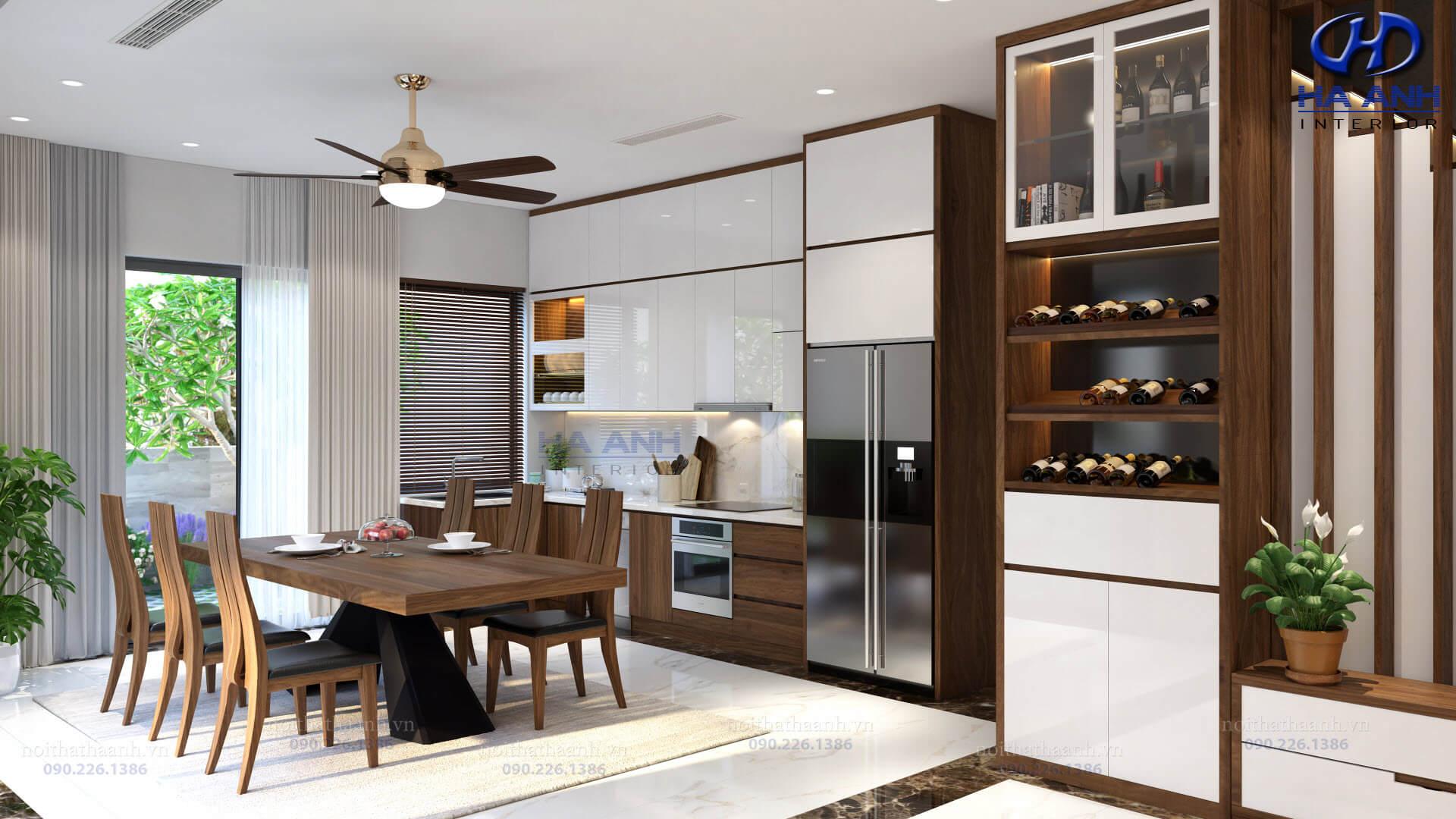 3 mẫu tủ rượu gỗ óc chó Hà Anh thể hiện sự đẳng cấp cho nội thất nhà bạn