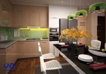 Tủ bếp veneer HA 30214