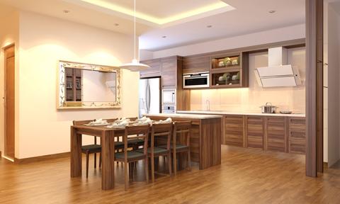 Không gian nội thất ấn tượng với gỗ óc chó của Mandarin Garden
