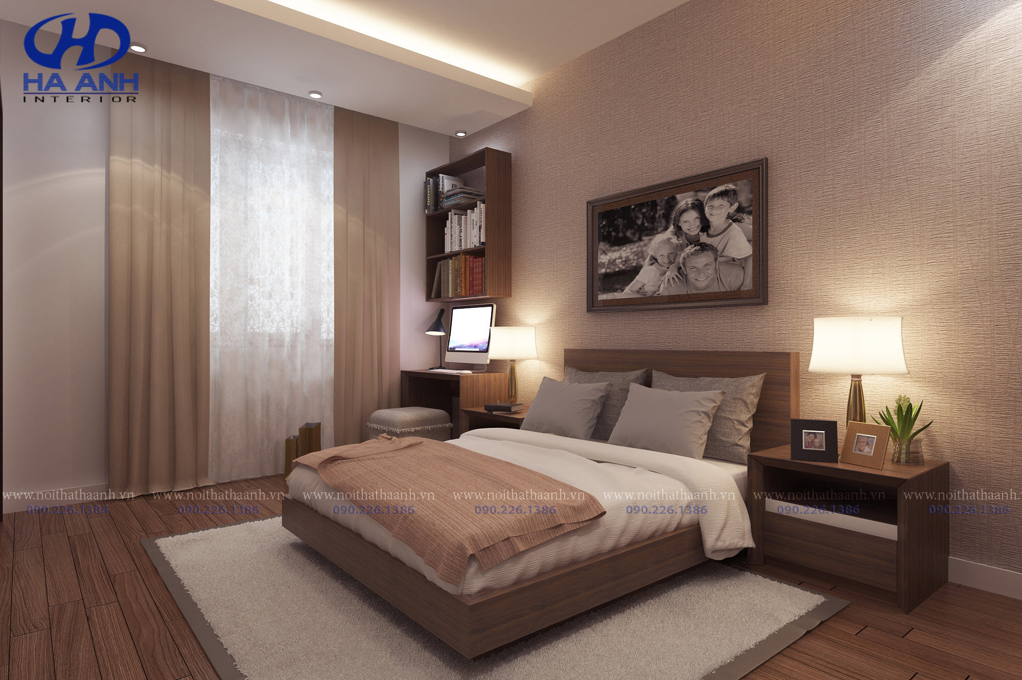 Giường ngủ laminate HA-8305