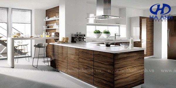 Tủ bếp veneer óc chó HAV-0320