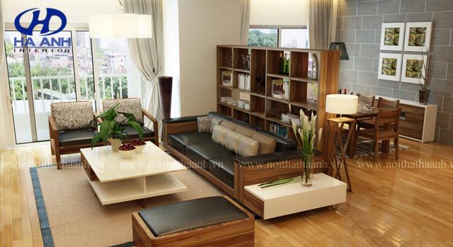 Sofa gỗ tự nhiên óc chó HAS-0414
