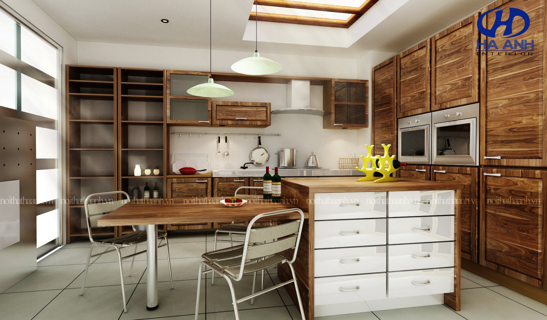 Tủ bếp gỗ tự nhiên óc chó HAG-0312-1