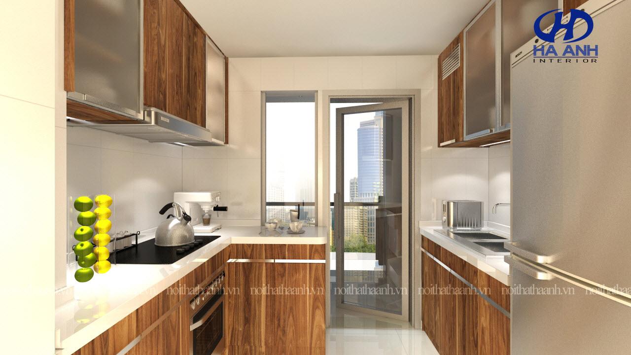 Tủ bếp gỗ tự nhiên Óc Chó HAG-0313-1