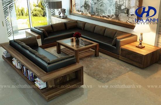 Sofa gỗ tự nhiên óc chó HAS-0412-1
