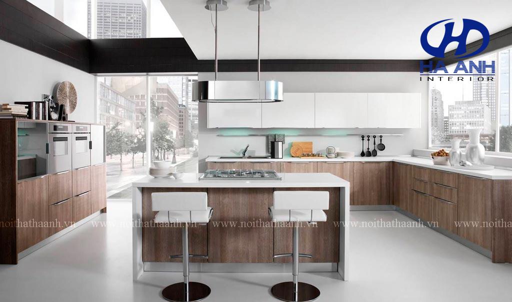 Tủ bếp veneer HA-30225