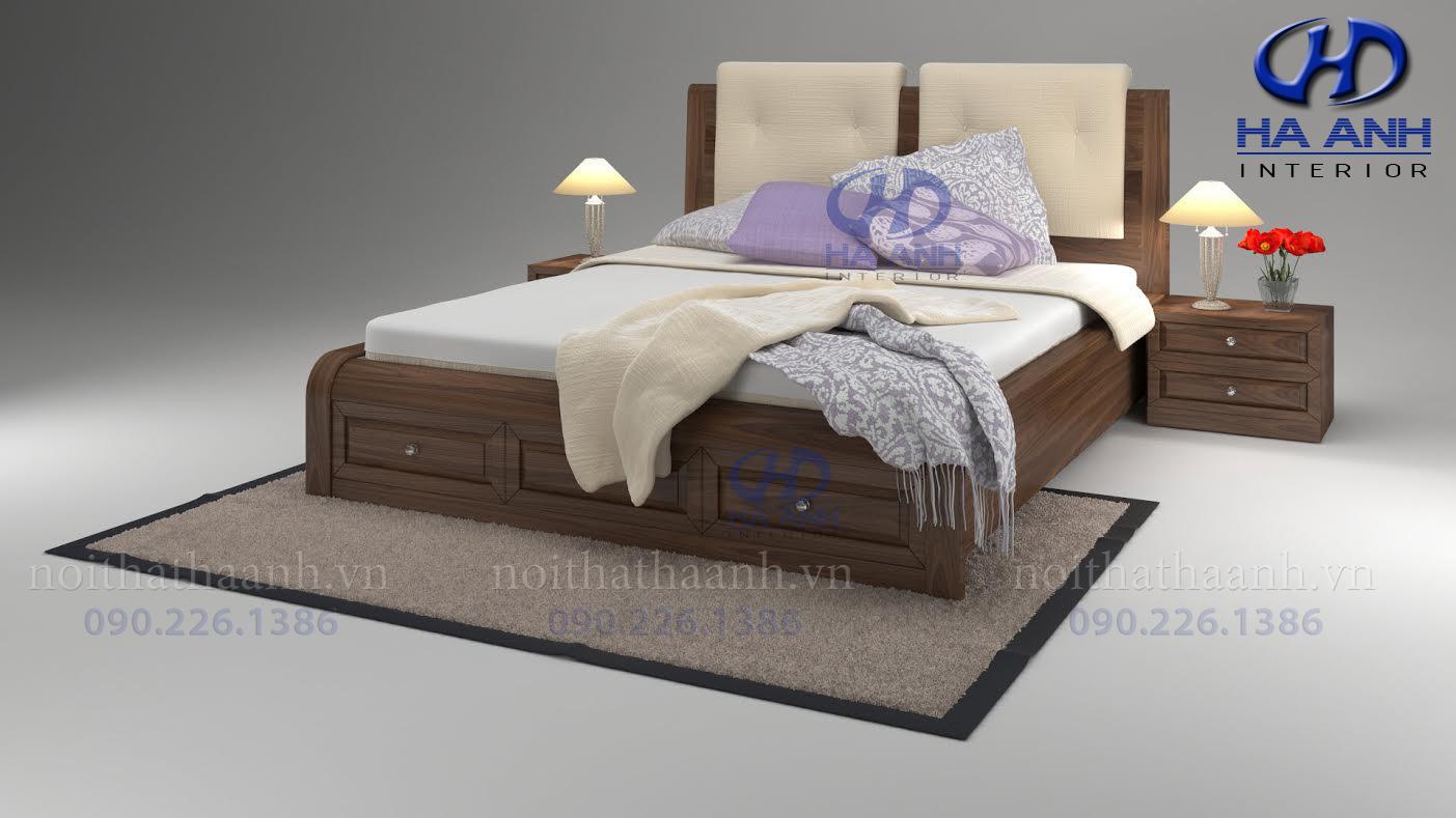 Giường gỗ Óc chó tự nhiên HAT-0226-1