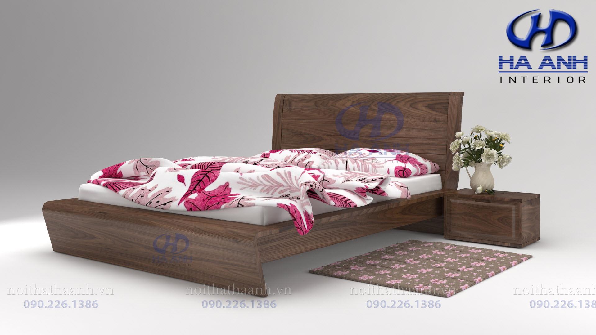 Giường gỗ Óc chó tự nhiên HAT-0228-1