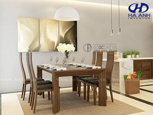 Làm sao để phòng bếp thực sự ấn tượng với bàn ăn gỗ óc chó?