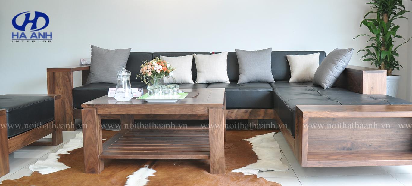 Sofa gỗ tự nhiên óc chó HAS-0411