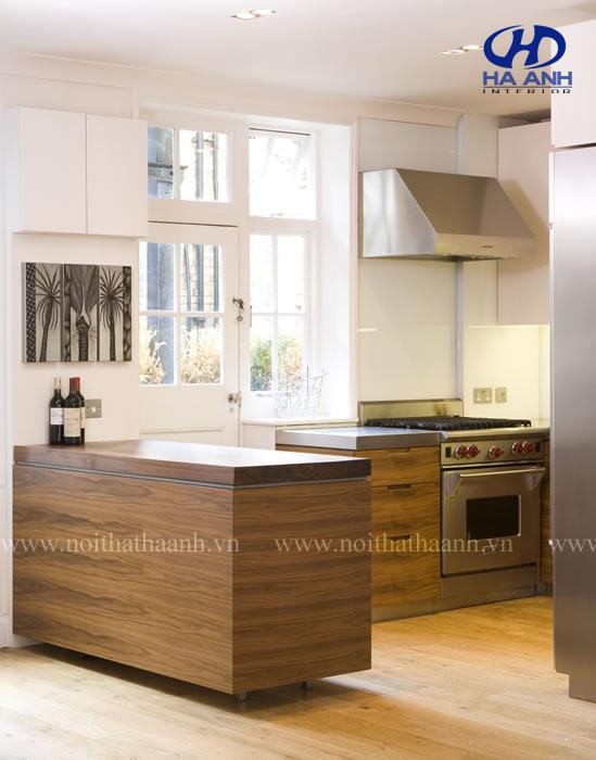 Tủ bếp veneer óc chó HAV-0312-1