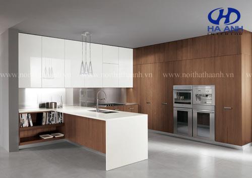 Tủ bếp veneer óc chó HAV-0314-1