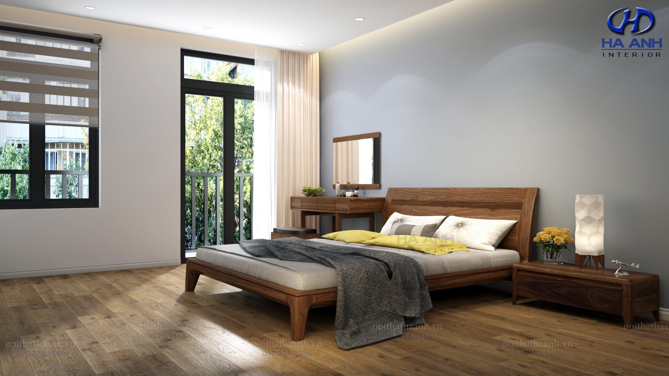 Giường gỗ Óc Chó HAT-0240