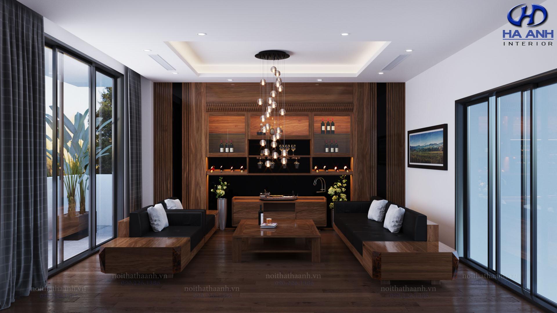 Sofa gỗ tự nhiên óc chó HAS-0417