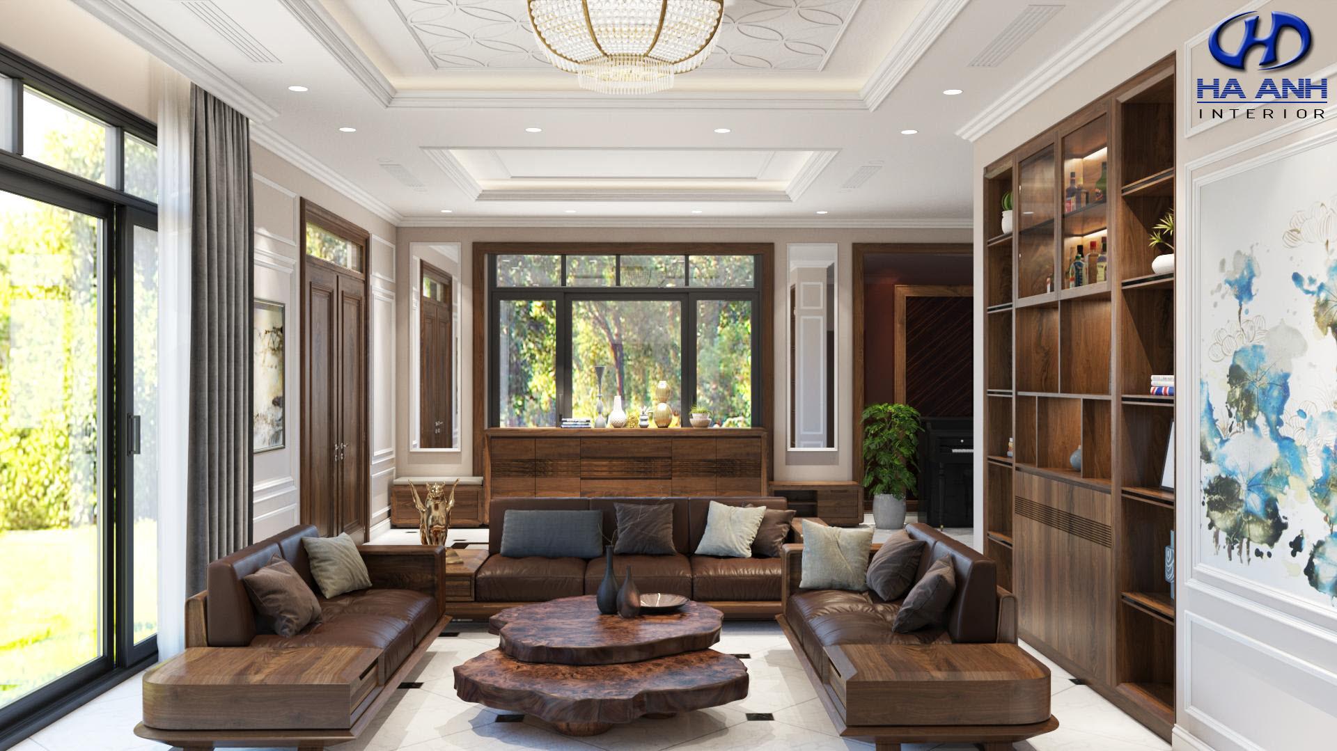 Sofa gỗ tự nhiên óc chó HAS-0421