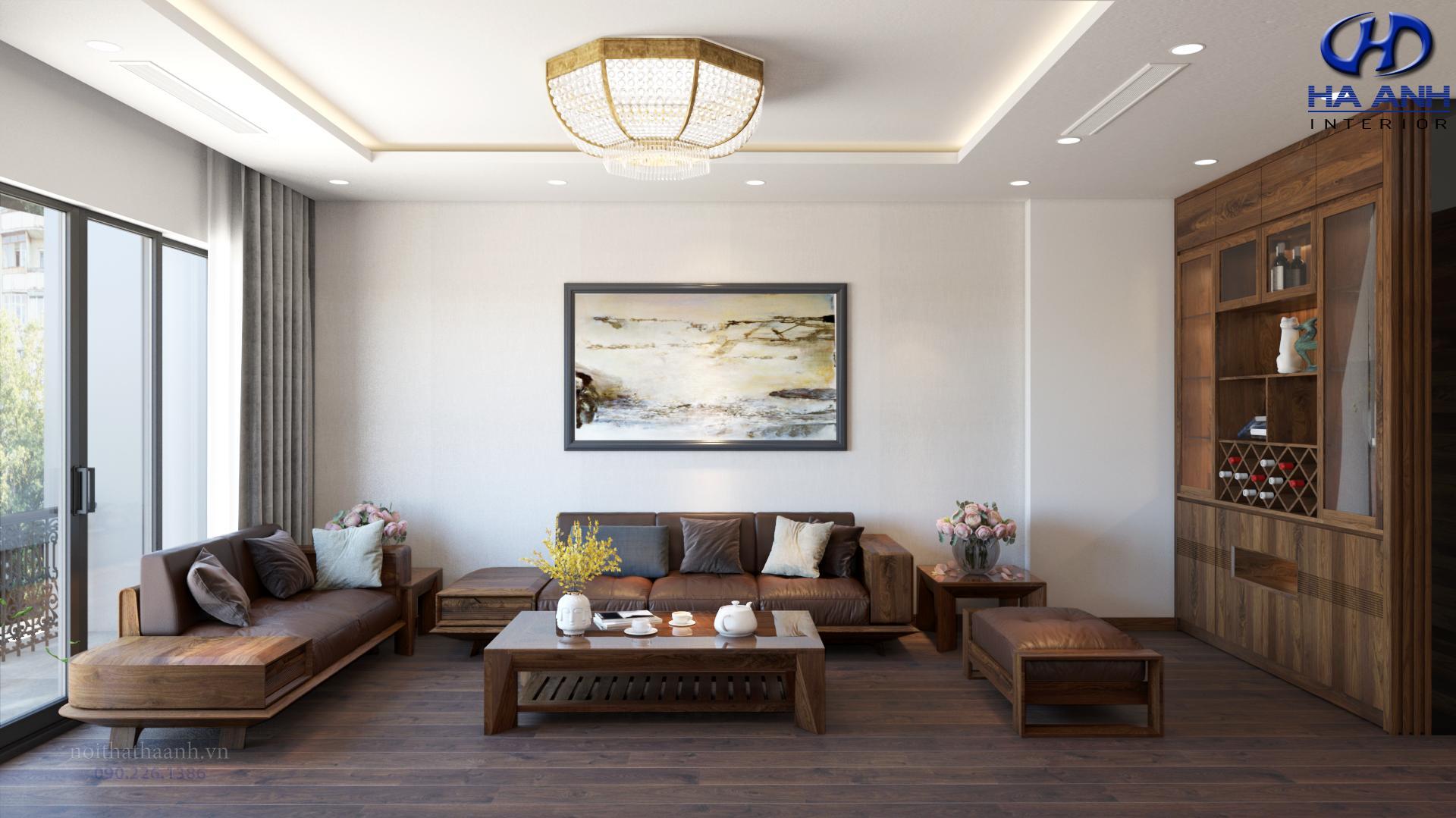 Sofa gỗ tự nhiên óc chó HAS-0422