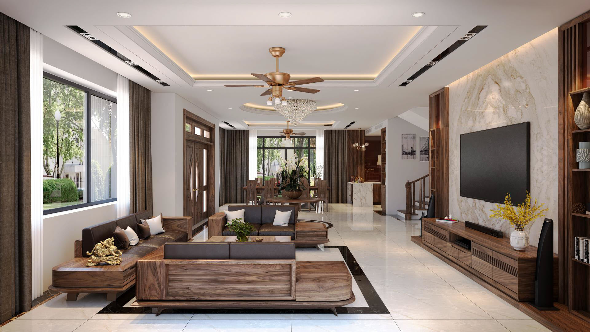 Sofa gỗ tự nhiên óc chó HAS-0423
