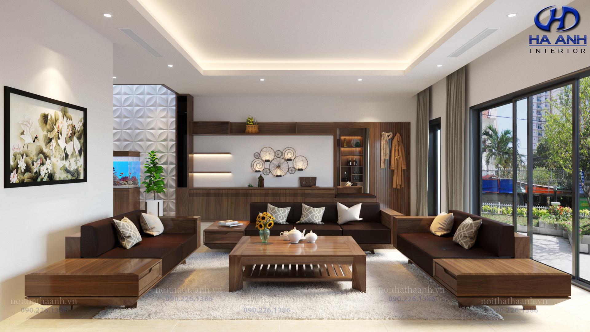 Sofa gỗ tự nhiên óc chó HAS-0426