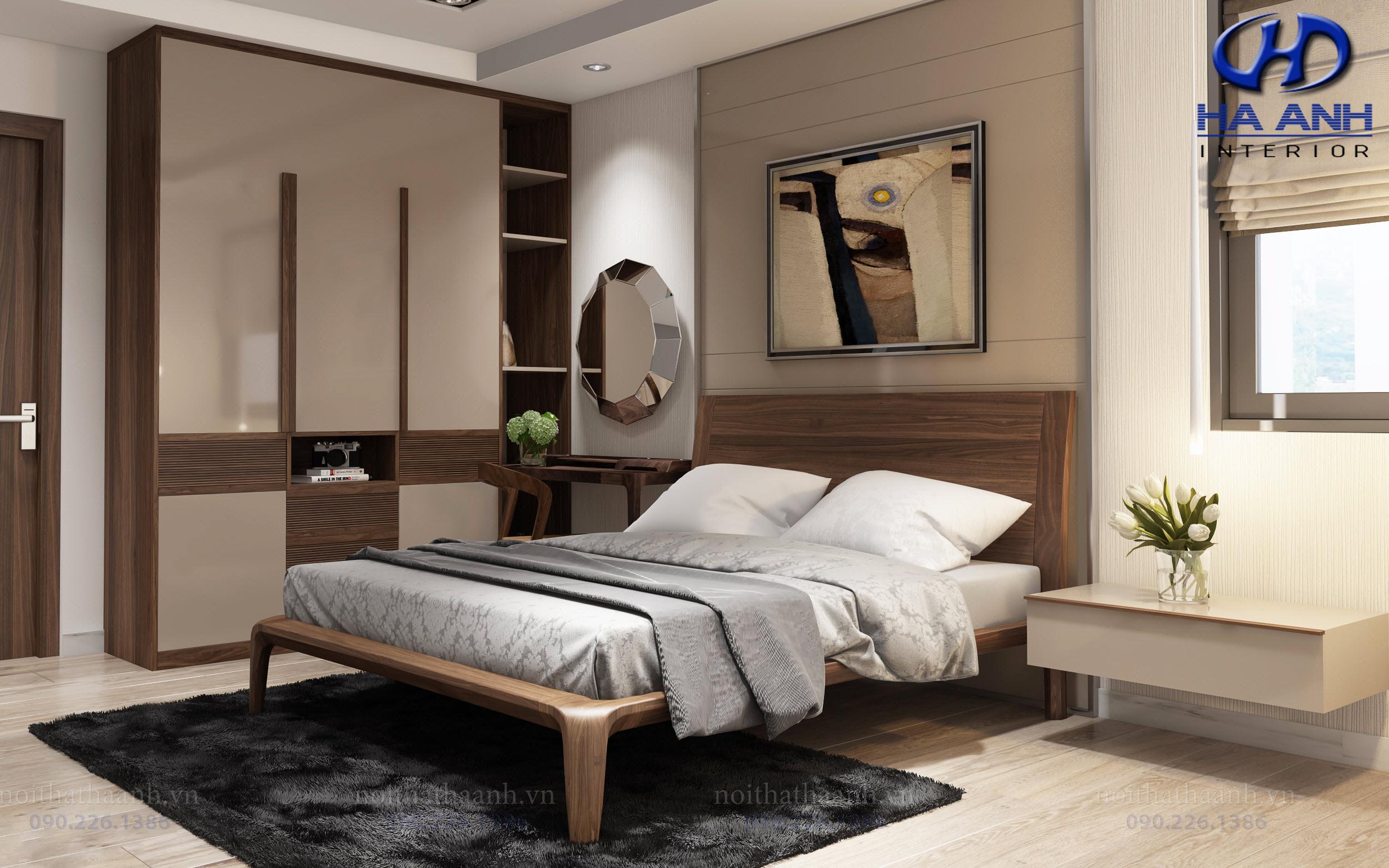 Giường ngủ gỗ Óc Chó tự nhiên HAT-0233